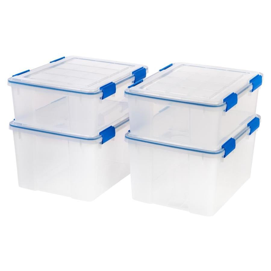Iris 4 Pack Weather Tight 11 Gallon 44 Quart Clear Tote With Latching Lid In The Plastic Storage Totes Department At Lowes Com