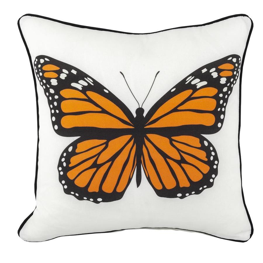 Divine Home Graphic Print Orange Square Butterflies Throw Pillow In The Outdoor Decorative Pillows Department At Lowes Com