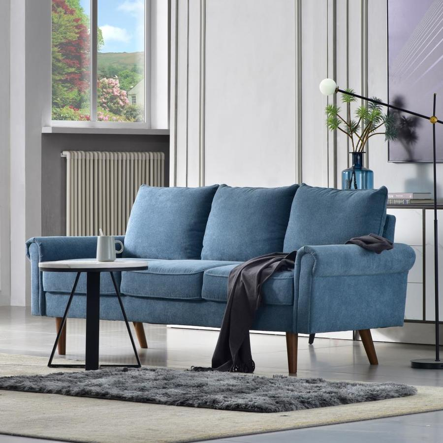 Ovios Testan Modern Light Blue Sofa In The Couches Sofas Loveseats Department At Lowes Com