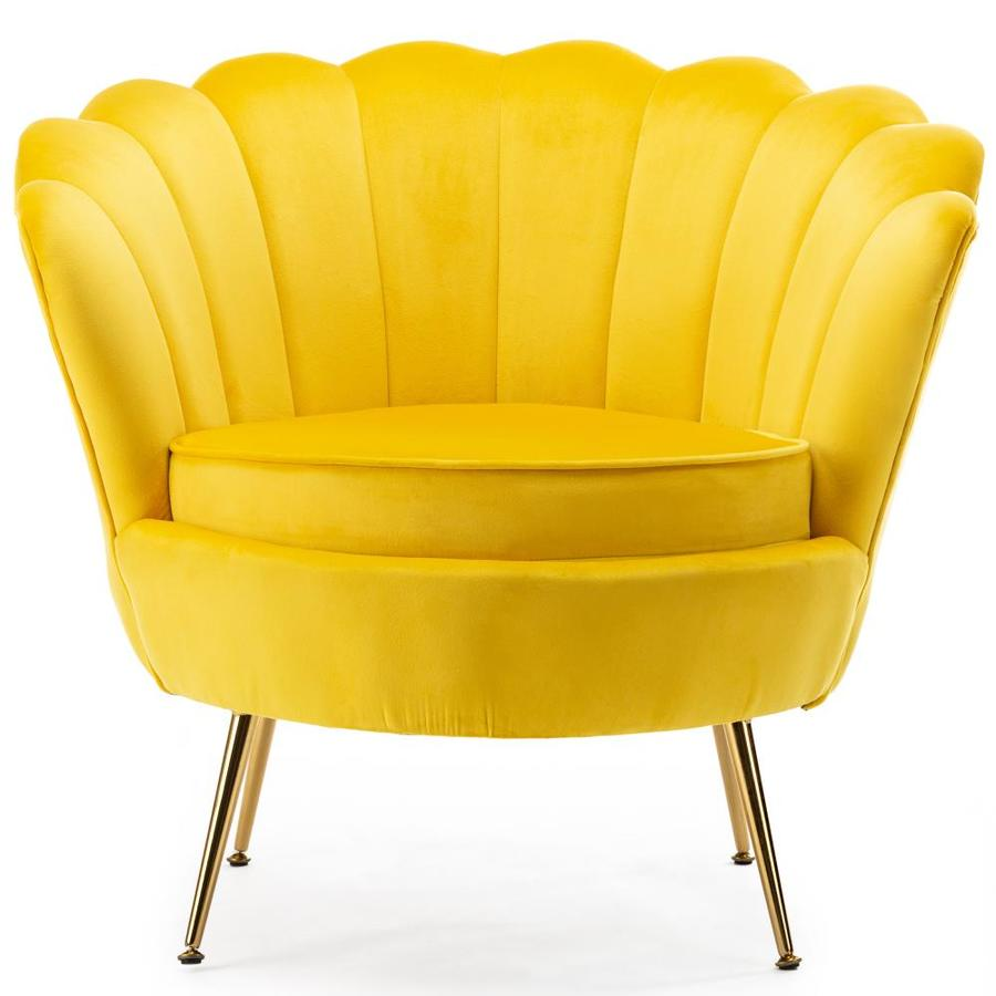 Kinwell Casual Yellow Velvet Accent Chair In The Chairs Department At Lowes Com