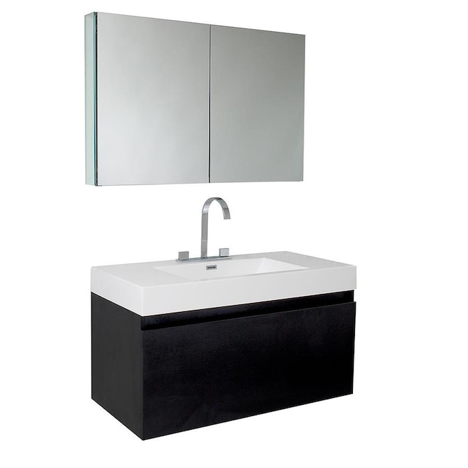 Fresca Senza 39 In Black Single Sink Bathroom Vanity With White Acrylic Top Faucet Included In The Bathroom Vanities With Tops Department At Lowes Com