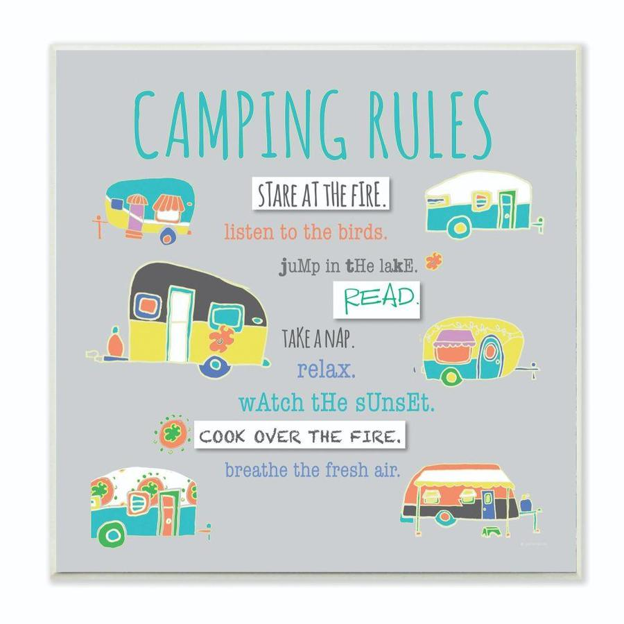 Stupell Industries Camping Rules Typog And Icons Frameless 12 In H X 12 In W Country Wood Print In The Wall Art Department At Lowes Com