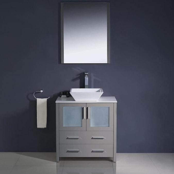 Fresca Bari 30-in Gray Single Sink Bathroom Vanity with ...