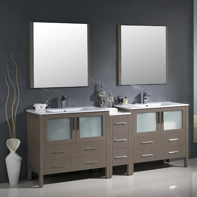 Fresca Bari 83.5-in Gray Oak Double Sink Bathroom Vanity ...