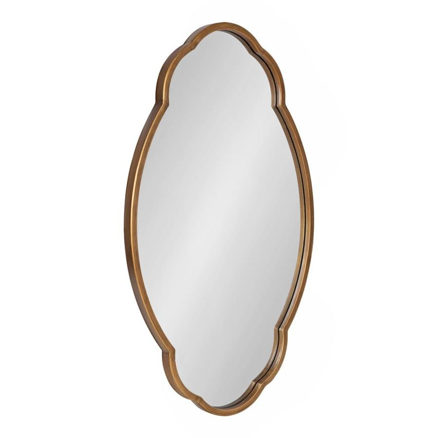 Kate And Laurel Magritte 30 In L X 18 In W Oval Gold Framed Wall Mirror In The Mirrors Department At Lowes Com