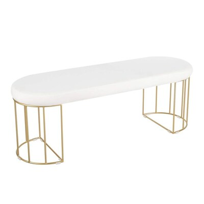 Lumisource Canary Eclectic Gold Metal White Velvet Accent Bench In The Indoor Benches Department At Lowes Com