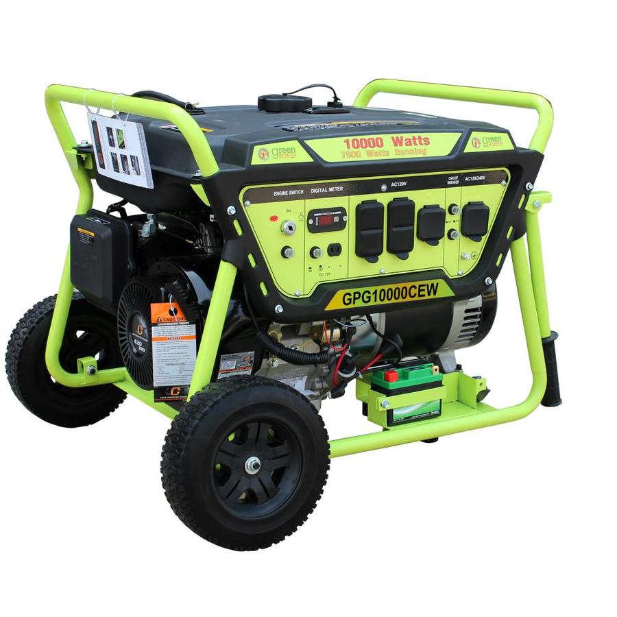 Green Power America 7500 Watt Gasoline Portable Generator With Lct Engine In The Portable Generators Department At Lowes Com