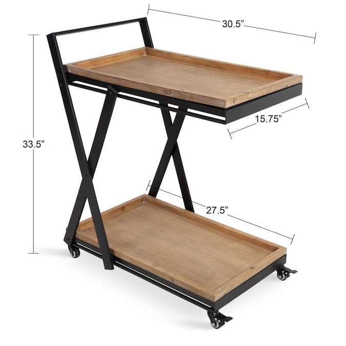 Kate And Laurel Lockridge Industrial Modern Farmhouse Black Metal Foldable Rolling Bar Cart With Removable Upper And Bottom Trays Light Rustic Brown And Black In The Office Carts Printer Stands Department