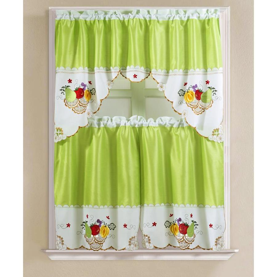 Rt Designers Collection Vintage Fruits Faux Silk Tier And Swag Kitchen Curtain Set In Lime Green In The Valances Department At Lowes Com