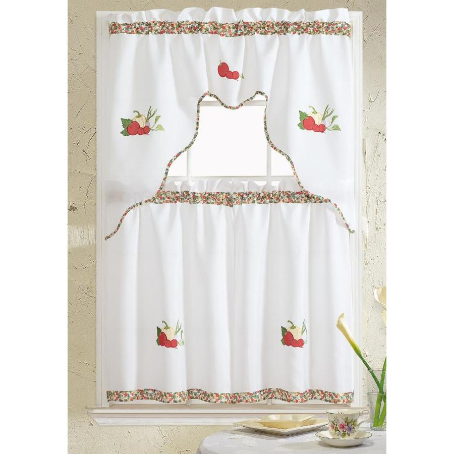 Rt Designers Collection Grand Vegetable Embroidered Kitchen Curtain Set In The Valances Department At Lowes Com