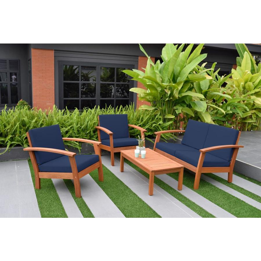 Amazonia 4 Piece Metal Frame Patio Conversation Set With Cushions In The Patio Conversation Sets Department At Lowes Com