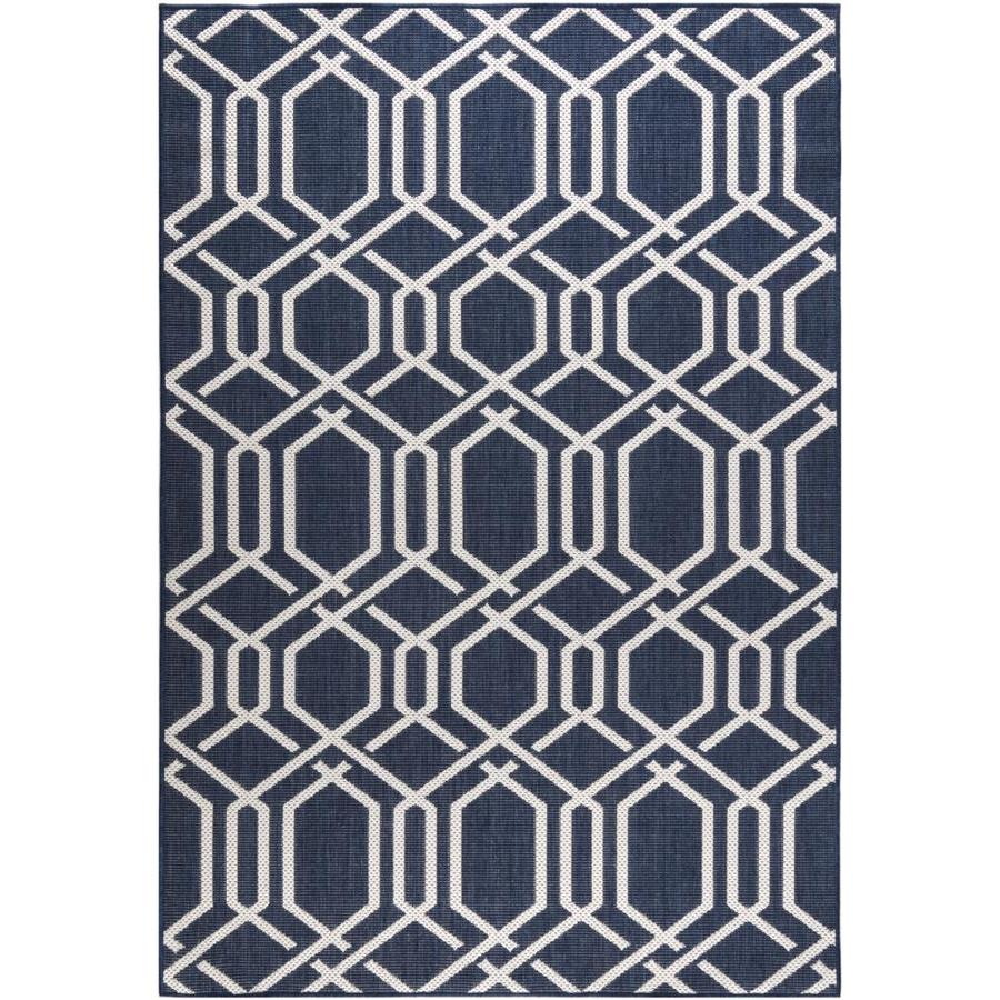 Madeleine Home Indoor Outdoor Rugs 5 X 8 Blue Indoor Outdoor Geometric Area Rug In The Rugs Department At Lowes Com