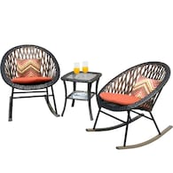 Deals on Ovios Set of 2 Wicker Metal Rocking Chairs w/Cushioned Seat