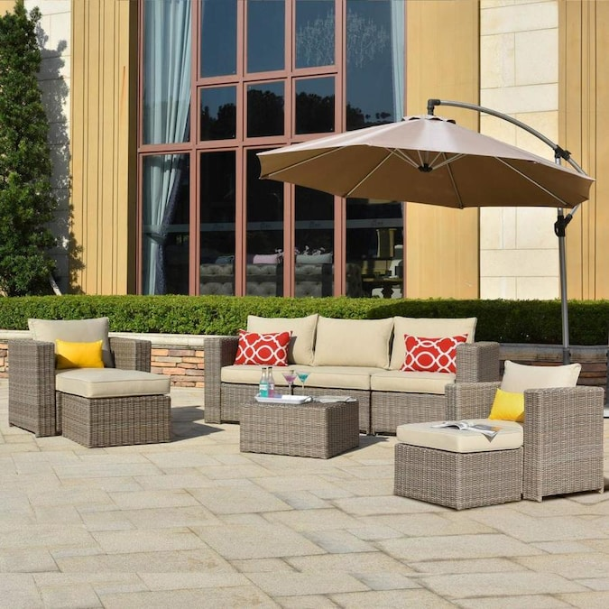 Ovios Petrior 8 Piece Metal Frame Patio Conversation Set With Cushions In The Patio Conversation Sets Department At Lowes Com