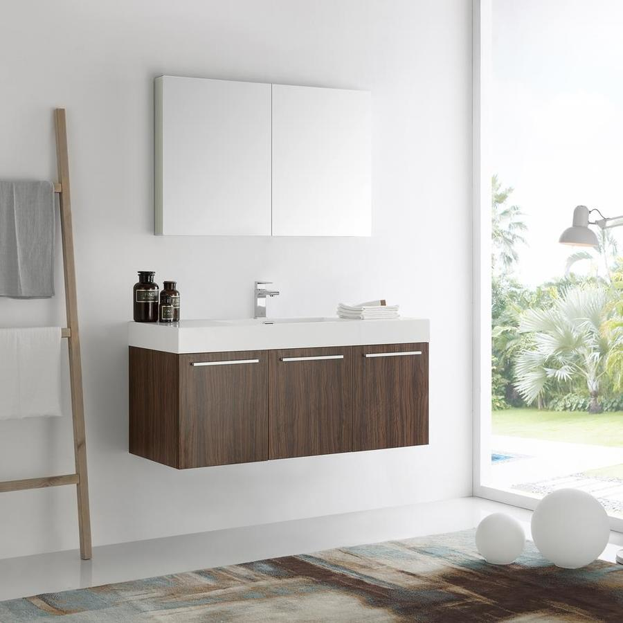 Fresca Senza 48 In Walnut Drop In Single Sink Bathroom Vanity With White Acrylic Top Faucet Included In The Bathroom Vanities With Tops Department At Lowes Com