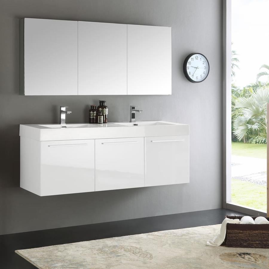 Fresca Senza 59 In White Drop In Double Sink Bathroom Vanity With White Acrylic Top Faucet Included In The Bathroom Vanities With Tops Department At Lowes Com