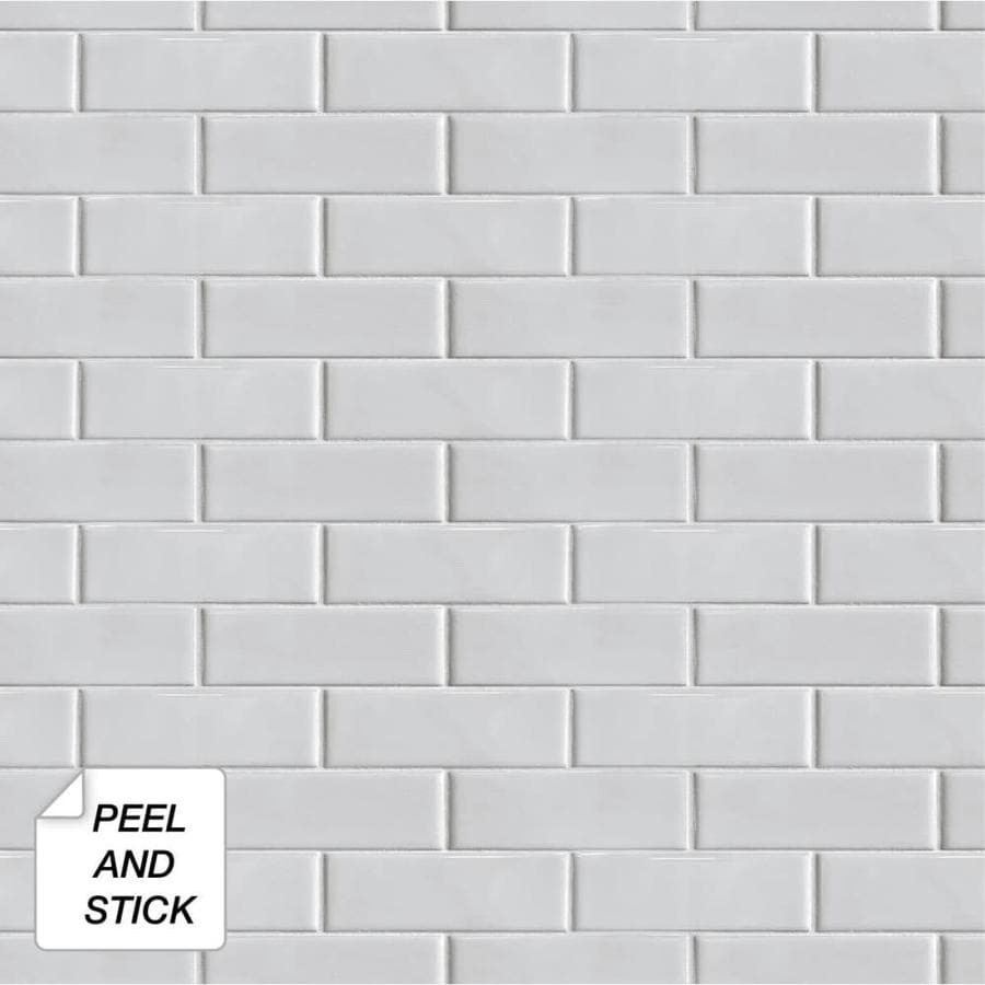 Nextwall 30 75 Sq Ft Off White Vinyl Tile Self Adhesive Peel And Stick Wallpaper In The Wallpaper Department At Lowes Com