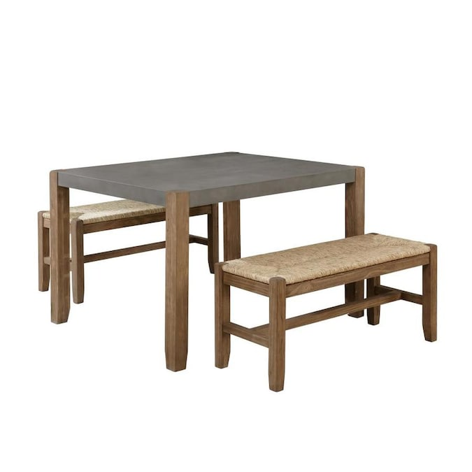 Alaterre Furniture Newport 3 Piece Modern Wood Dining Table With Two Rush Seat Benches In The Dining Room Sets Department At Lowes Com