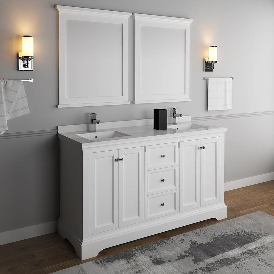 Fresca Cambria 60 In Matte White Undermount Double Sink Bathroom Vanity With White Quartz Top Mirror And Faucet Included In The Bathroom Vanities With Tops Department At Lowes Com