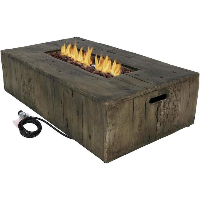 Sunnydaze Decor 26 50 In W 50000 Btu Brown Concrete Propane Gas Fire Table The Pits Department At Lowes