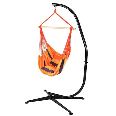 Sunnydaze Hanging Hammock Chair Swing And C Stand Set Hammocks At Lowes Com