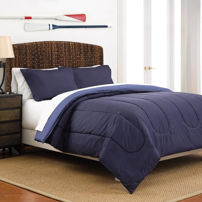 Westpoint Home Martex Reversible Comforter Set 2 Piece Navy Ceil Blue Twin Comforter Set In The Bedding Sets Department At Lowes Com
