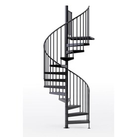 Arke Oak Xtra 63 In X 10 Ft White Spiral Staircase Kit In The Staircase Kits Department At Lowes Com