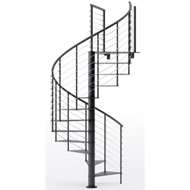 Arke Oak Xtra 63 In X 10 Ft Black Spiral Staircase Kit In The Staircase Kits Department At Lowes Com