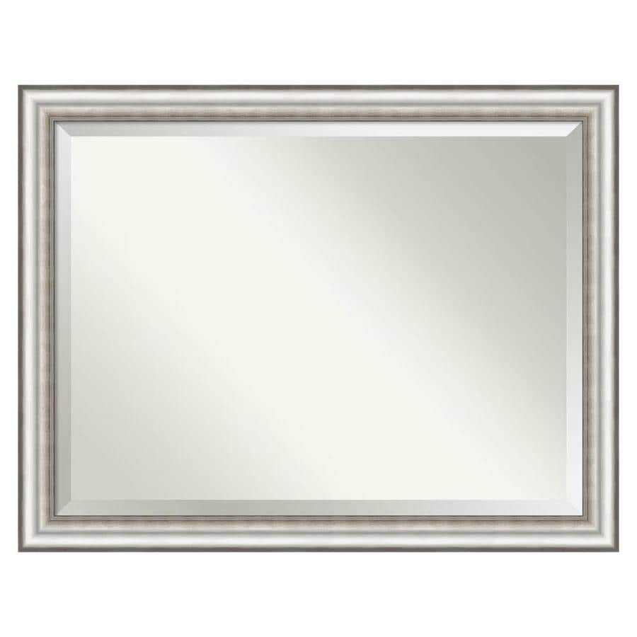 Amanti Art Salon Silver Frame Collection 45 In Silver Rectangular Bathroom Mirror In The Bathroom Mirrors Department At Lowes Com