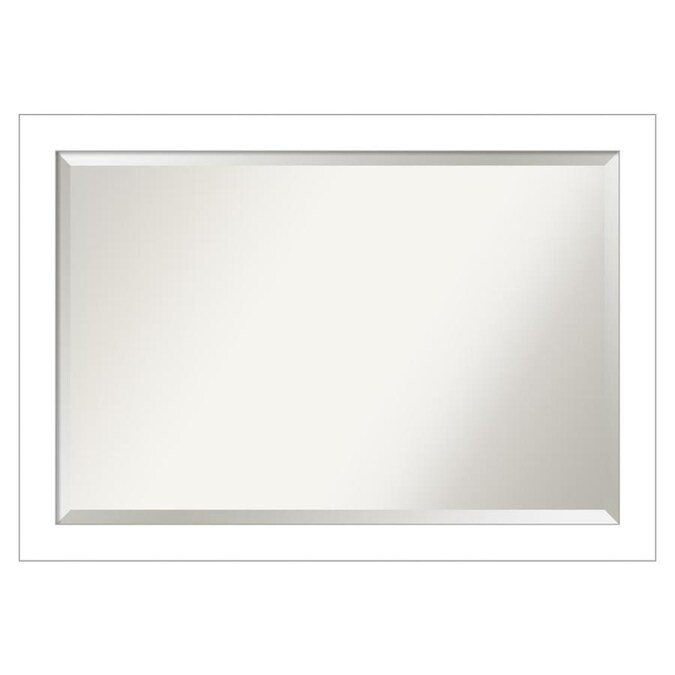 Amanti Art Wedge White Frame Collection 40 25 In Satin White Rectangular Bathroom Mirror In The Bathroom Mirrors Department At Lowes Com
