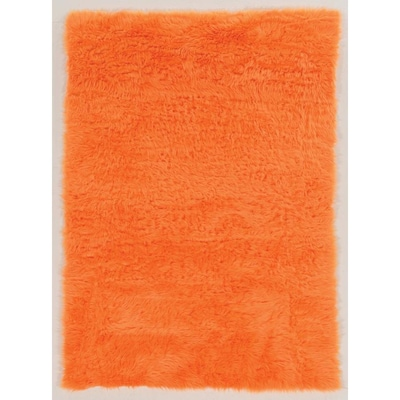 Linon Faux Sheepskin 2 X 3 Orange Indoor Solid Area Rug In The Rugs Department At Lowes Com
