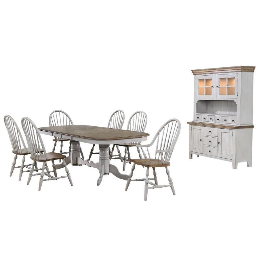 Sunset Trading Country Grove 8 Piece Double Pedestal Extendable Dining Table Set 2 Arm Chairs Lighted China Cabinet Distressed Gray And Brown Wood In The Dining Room Sets Department At Lowes Com
