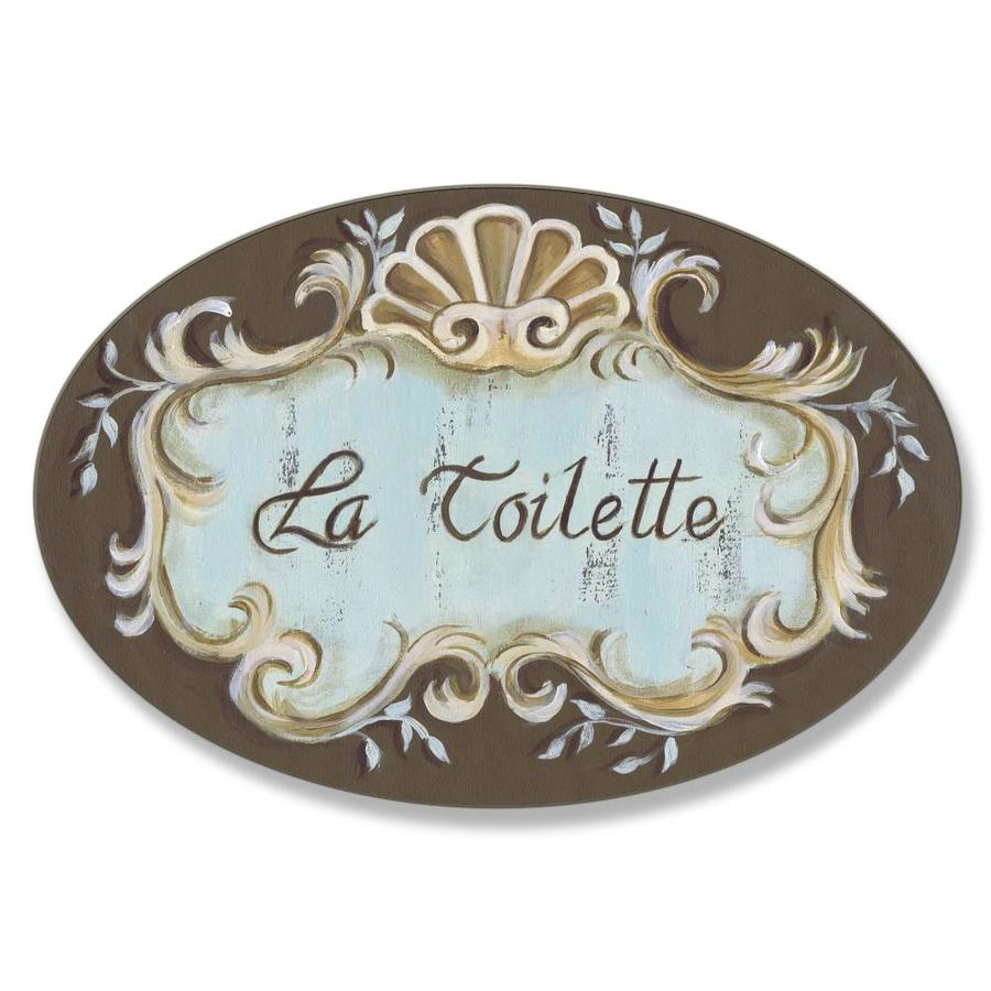 Stupell Industries Stupell Industries La Toilette Aqua And Brown Scallop Shell Crest Oval Bathroom Wall Plaque 10 X 0 5 X 15 In The Wall Art Department At Lowes Com