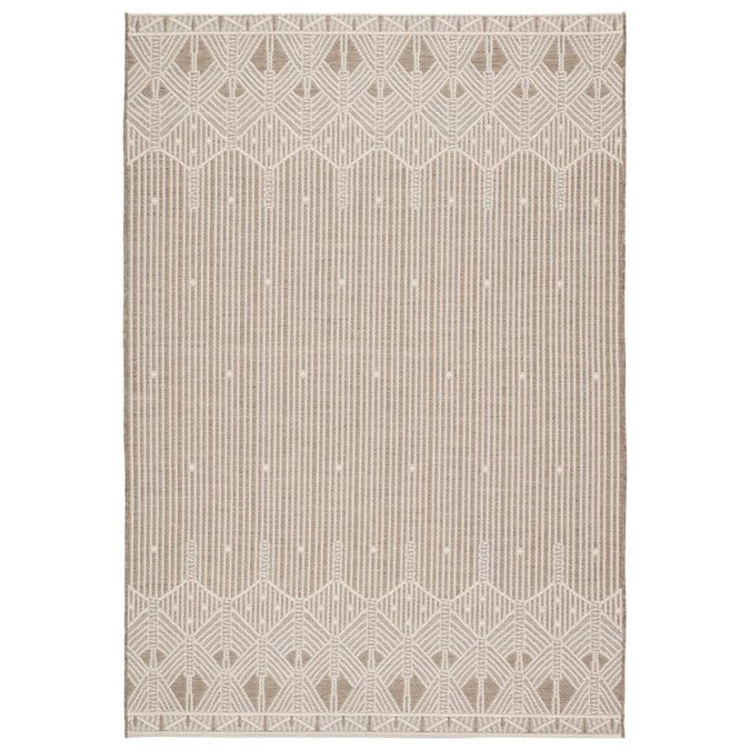 Monte 8 X 11 Taupe Cream Indoor Outdoor Geometric Bohemian Eclectic Area Rug In The Rugs Department At Lowes Com