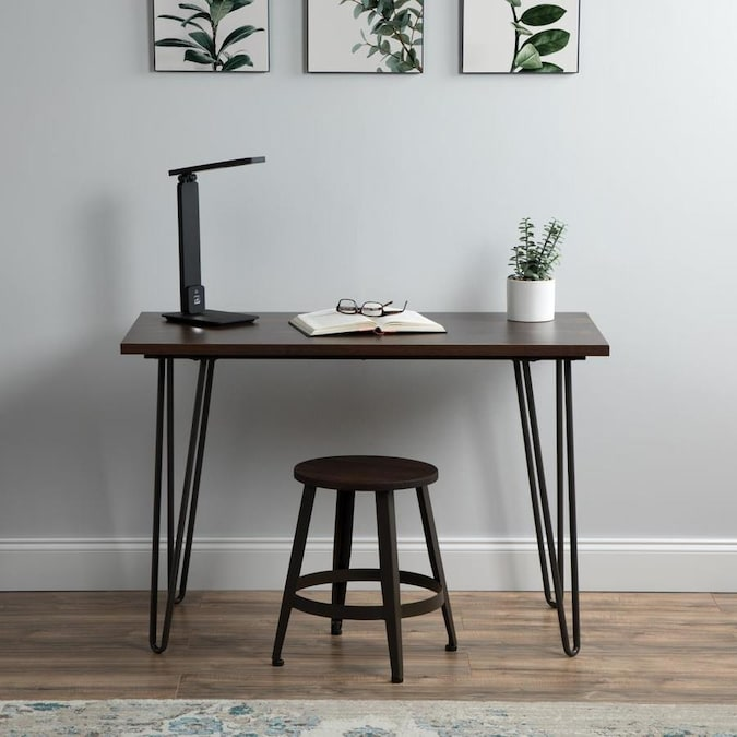 Ofm Essentials Collection 44 In Home Retro Desk Writing Desk With Hairpin Legs In Gray Wenge
