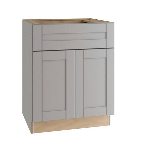 Ideal Cabinetry 27 In W X 34 5 In H X 21 In D Vinyl Gray Birch Sink Base Semi Custom Cabinet In The Semi Custom Kitchen Cabinets Department At Lowes Com