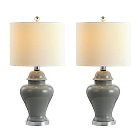 Jonathan Y Classic Green Table Lamp With Linen Shade In The Table Lamps Department At Lowes Com