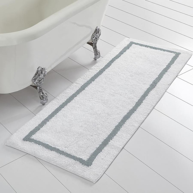 Amrapur Overseas Reversible Stripe Bath Runner 60 In X 22 In Silver Cotton Bath Rug In The Bathroom Rugs Mats Department At Lowes Com