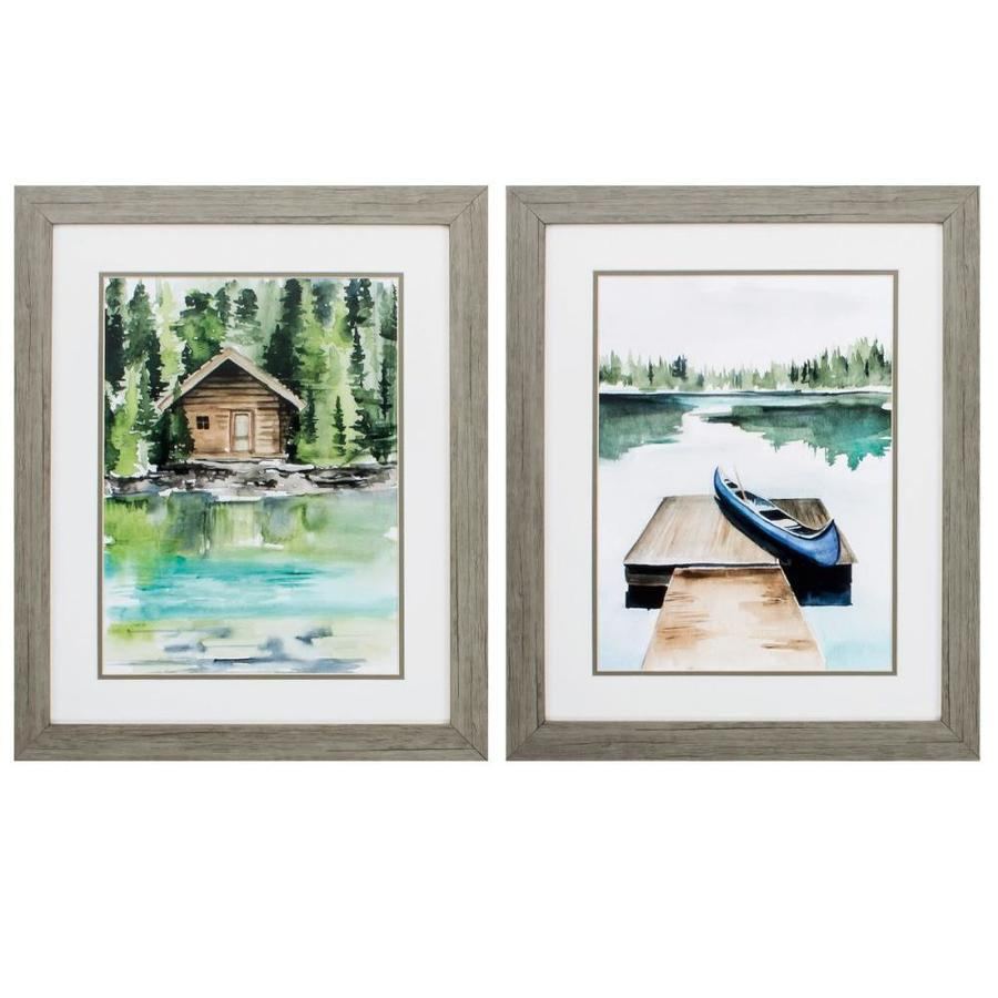 Homeroots 19 In X 23 In Wood Toned Frame Lake Views Set Of 2 In The Wall Art Department At Lowes Com