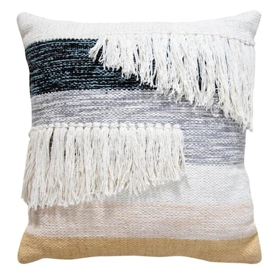 Timberbrook 18 In X 18 In Gray Cotton Square Indoor Decorative Pillow In The Throw Pillows Department At Lowes Com