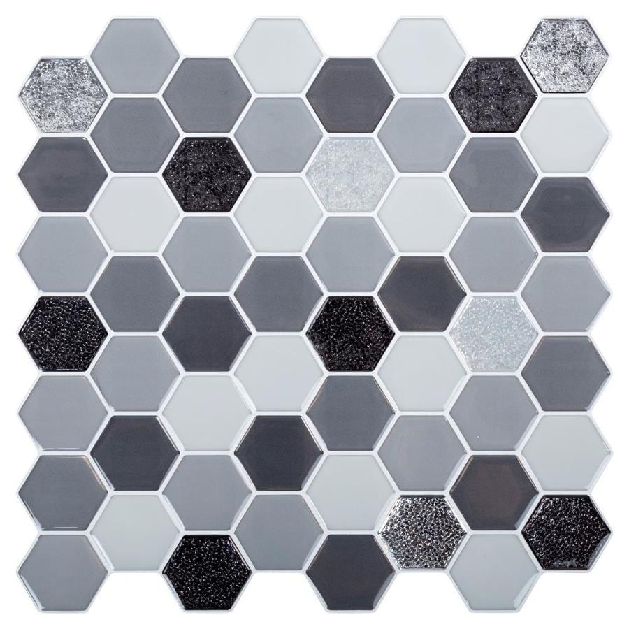 Truu Design Truu Design Self Adhesive Peel And Stick Glitter Accent Wall Tiles 10 X 10 In Grey 6 In The Wall Decals Department At Lowes Com