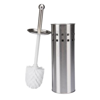 NEW SET OF 2 STAINLESS STEEL TOILET BATHROOM CLEANING BRUSH FREE STANDING HOLDER
