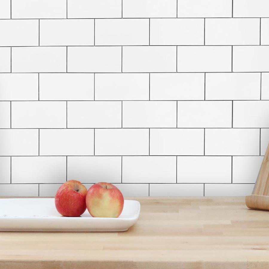 Design Is Personal Dip Peel And Stick Tile Backsplash 12 In X 12 In Ceramic White Gloss Backsplash Panels In The Backsplash Panels Department At Lowes Com