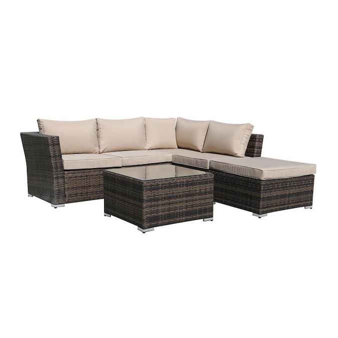 Kinwell Kinwell Outdoor Patio Furniture 4 Piece Resin Frame Patio Conversation Set With Cushion S Included In The Patio Conversation Sets Department At Lowes Com