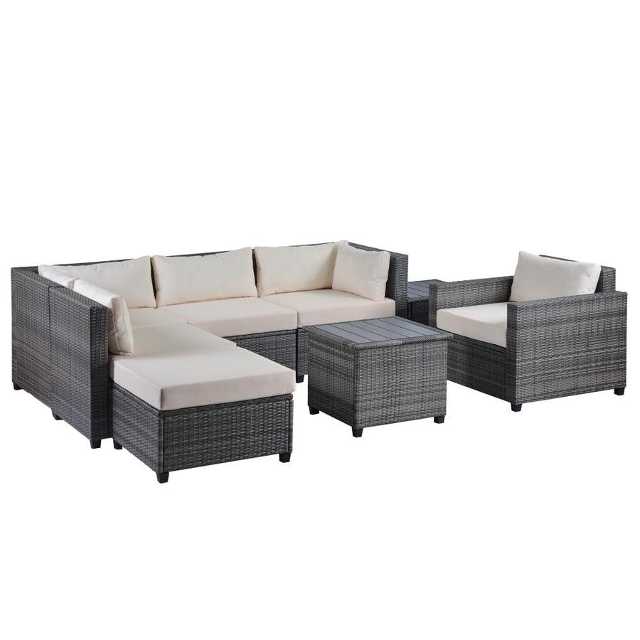 Kinwell Kinwell Outdoor Patio Furniture 8 Piece Resin Frame Patio Conversation Set With Cushion S Included In The Patio Conversation Sets Department At Lowes Com