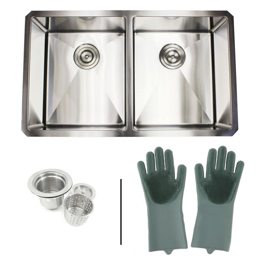 Emoderndecor Ariel 32 In X 19 In Stainless Steel Double Equal Bowl Undermount Commercial Residential Kitchen Sink In The Kitchen Sinks Department At Lowes Com