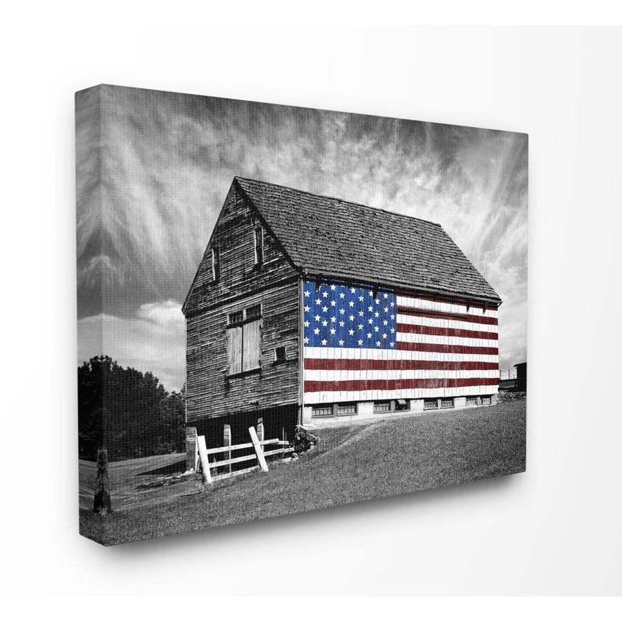 Stupell Industries Black And White Farmhouse Barn American Flag Framed 20 In H X 16 In W Country Wood Print In The Wall Art Department At Lowes Com