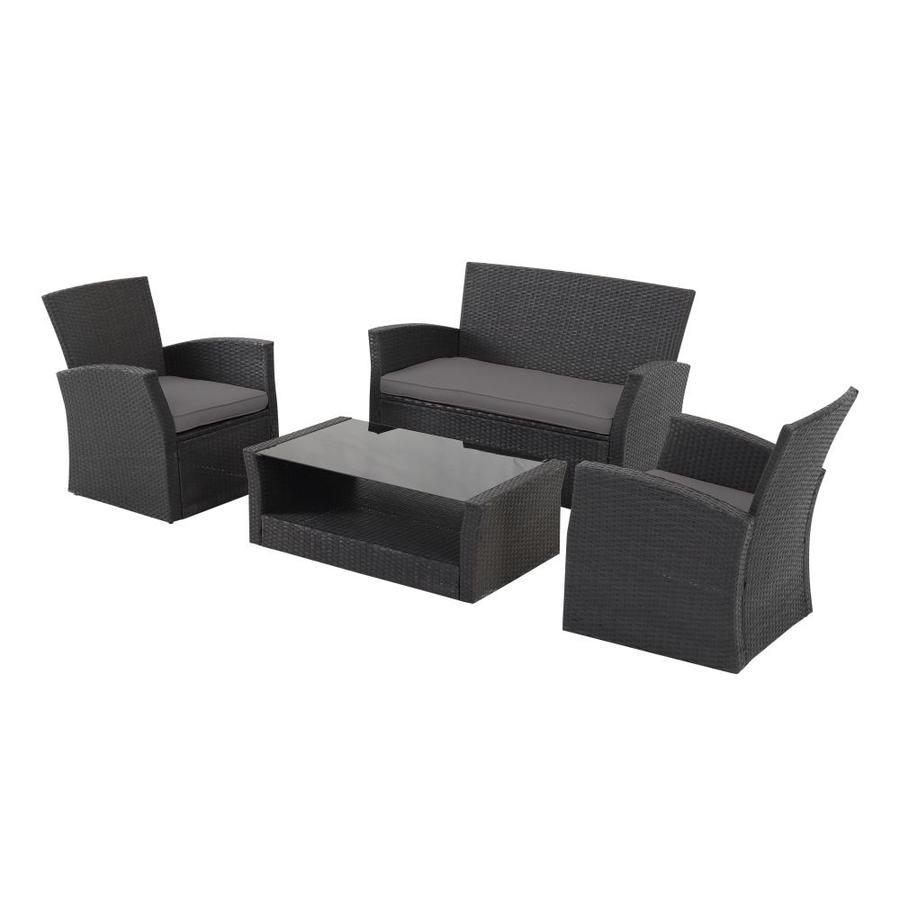 4 Piece Black Rattan Sofa Seating Group