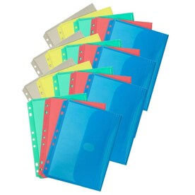 for Letter Size Papers Assorted Colors 32960 C-Line Two-Pocket Heavyweight Poly Portfolio with Prongs 10 Pack Includes Business Card Slot