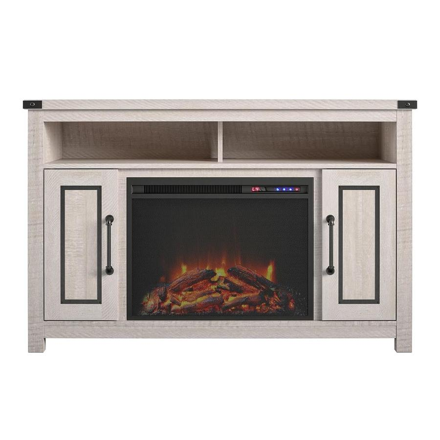 Ameriwood Home 47 8 In W Rustic White Fan Forced Electric Fireplace In The Electric Fireplaces Department At Lowes Com